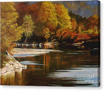Autumn Along The Stillaguamish Canvas Print by Suzanne Schaefer