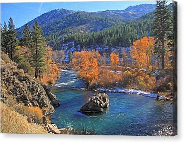 Autumn Along The Truckee River Canvas Print by Donna Kennedy