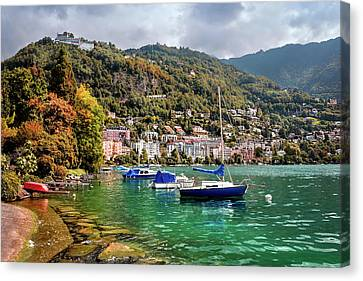 Lakeshore Canvas Print - Autumn Approaches In Montreux Switzerland  by Carol Japp