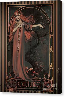Canvas Print featuring the digital art Autumn Art Nouveau  by Shanina Conway