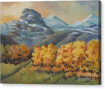 Canvas Print featuring the painting Autumn At Kananaskis by Marta Styk