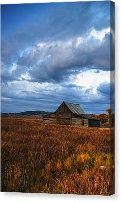 Autumn At Mormon Row Barn Grand Teton National Park Canvas Print