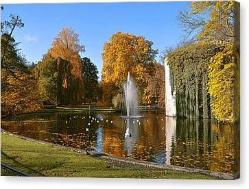 Autumn At The City Park Pond Maastricht Canvas Print by Nop Briex
