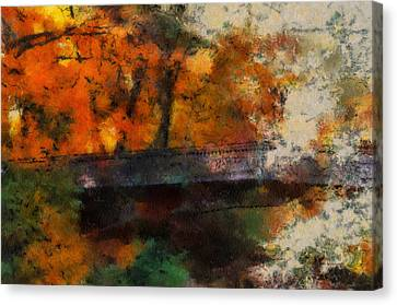 Autumn At The Foot Bridge 03 Canvas Print by Thomas Woolworth