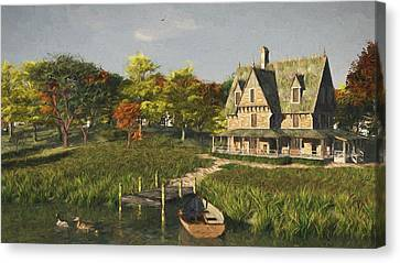 Canvas Print featuring the digital art Autumn At The Lake by Jayne Wilson