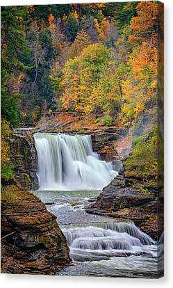 Autumn At The Lower Falls Canvas Print by Rick Berk