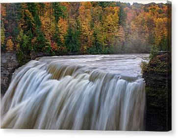 Autumn At The Middle Falls  Canvas Print by Rick Berk