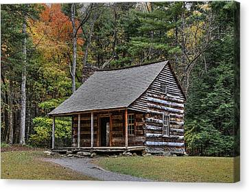 Autumn At The Shields Cabin In Cades Cove In The Great Smoky Mountains National Park Canvas Print by Carol R Montoya