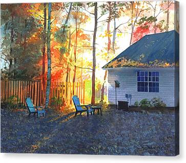 Autumn Backyard Canvas Print by Sergey Zhiboedov
