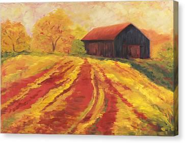Autumn Barn Canvas Print by Amy Welborn