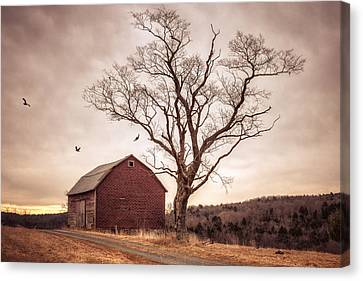 Canvas Print featuring the photograph Autumn Barn And Tree by Gary Heller