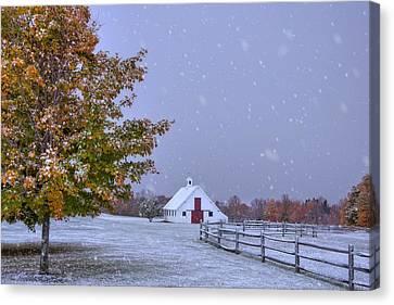 Autumn Barn In Snow - Vermont Canvas Print by Joann Vitali