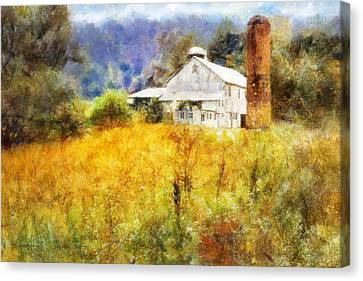 Canvas Print featuring the digital art Autumn Barn In The Morning by Francesa Miller