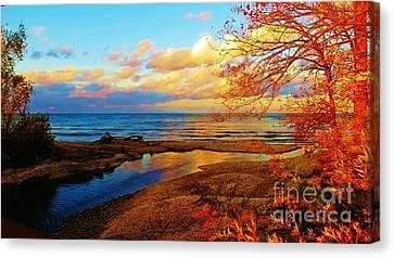 Autumn Beauty Lake Ontario Ny Canvas Print by Judy Via-Wolff