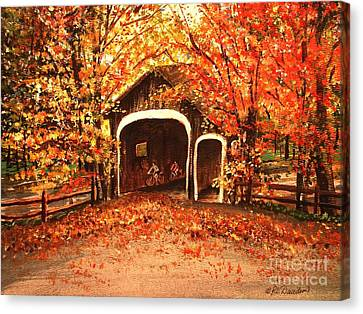 Canvas Print featuring the painting Autumn Bike Ride by Patricia L Davidson