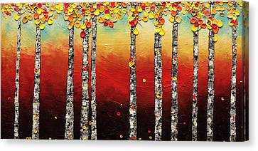 Canvas Print featuring the painting Autumn Birch Trees by Carmen Guedez