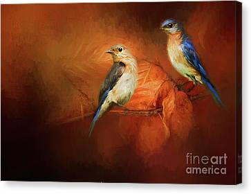 Autumn Blue Birds Canvas Print