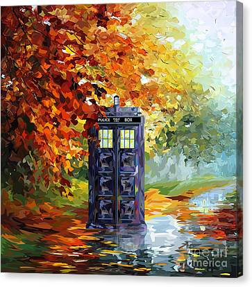 Autumn Blue Phone Box Canvas Print by Three Second