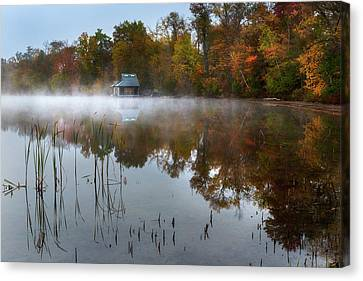Autumn Boathouse Canvas Print by Bill Wakeley