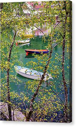 Canvas Print featuring the photograph Autumn. Boats by Dmytro Korol