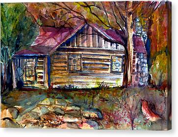 Autumn Cabin Canvas Print by Mindy Newman