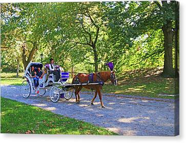 Autumn Carriage Ride Canvas Print by Allen Beatty