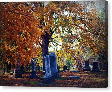 Autumn Cemetery Canvas Print by Cricket Hackmann