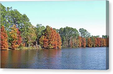 Canvas Print featuring the photograph Autumn Color At Ratcliff Lake by Jayne Wilson