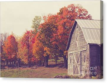 Autumn Color On The Old Farm Canvas Print by Edward Fielding