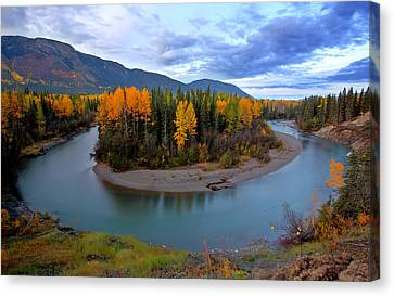 Autumn Colors Along Tanzilla River In Northern British Columbia Canvas Print by Mark Duffy