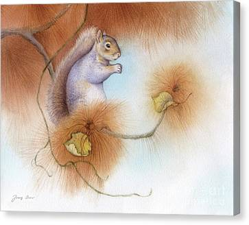 Autumn Come Softly Squirrel Canvas Print by Tracy Herrmann