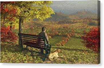 Canvas Print featuring the digital art Autumn Companions by Jayne Wilson