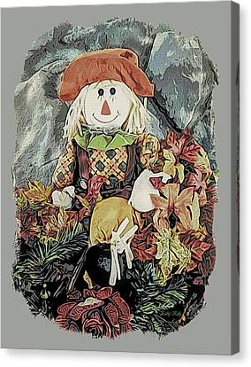 Canvas Print featuring the digital art Autumn Country Scarecrow by Kathy Kelly