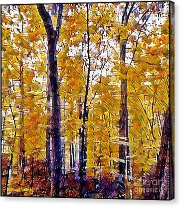 Autumn  Day In The Woods Canvas Print by MaryLee Parker