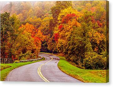 Autumn Drive On The Blue Ridge Canvas Print by Alex Grichenko