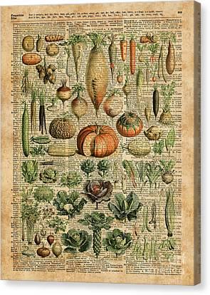 Autumn Fall Vegetables Kiche Harvest Thanksgiving Dictionary Art Vintage Cottage Chic Canvas Print