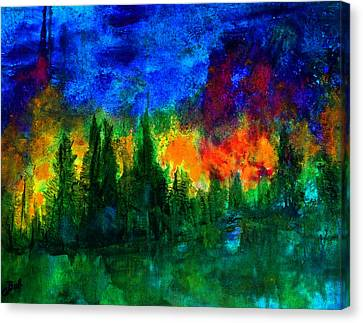 Canvas Print featuring the painting Autumn Fires by Claire Bull