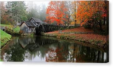 Grist Mill Canvas Print - Autumn Foggy Morning At Mabry Mill Virginia  by Carol R Montoya