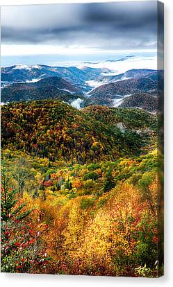 Autumn Foliage On Blue Ridge Parkway Near Maggie Valley North Ca Canvas Print