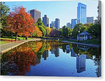 Autumn Foliage On The Boston Common Frog Pond Canvas Print by Toby McGuire