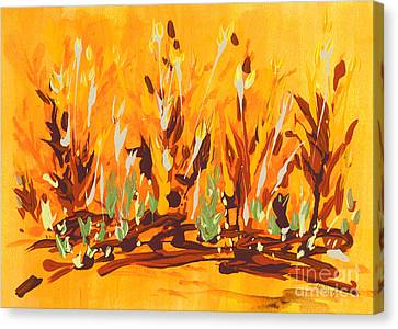 Canvas Print featuring the painting Autumn Garden by Holly Carmichael