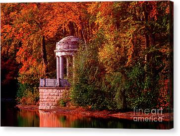 Autumn Gazebo Canvas Print by KaFra Art