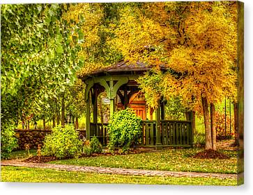 Autumn Gazebo Canvas Print by TL  Mair