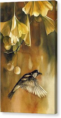 Autumn Ginkgo With Sparrow Canvas Print by Alfred Ng