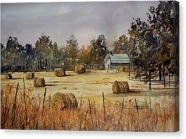 Hay Bales Canvas Print - Autumn Gold by Ryan Radke