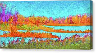 Canvas Print featuring the digital art Autumn Grassy Meadow With Floating Lakes by Joel Bruce Wallach