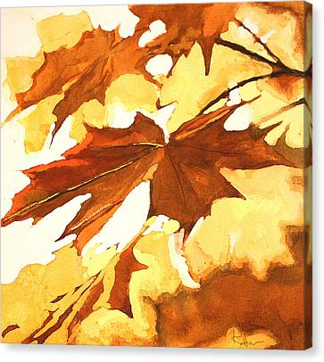 Canvas Print featuring the painting Autumn Greeting by Rachel Hames