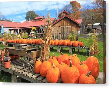 Autumn Harvest Pumpkins And Sugar House Canvas Print by John Burk