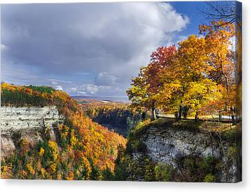 Nature Scene Canvas Print - Autumn In Letchworth by Mark Papke