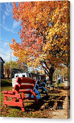 Southern Indiana Autumn Canvas Print - Autumn In Metamora Indiana by Mel Steinhauer